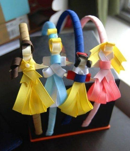 Princess headbands!: Head Bands, Little Girls, Idea, Disney Princesses, Disney Trips, Daughters, Ribbons Headbands, Princesses Headbands, Diy