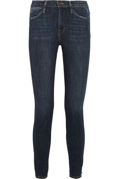FRAME's 'Le High Skinny' jeans are woven with ample stretch for a flexible, second-skin fit. This dark-blue pair is finished with a stepped hem - one of our favorite trends this fall. They feature lightly distressed trims for an authentic lived-in feel.