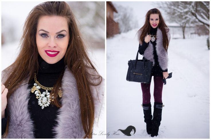 PetraLovelyHair: OOTD - silver - gray faux fur vest