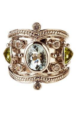 Aquamarine, Peridot & White Topaz Tuscany Ring.