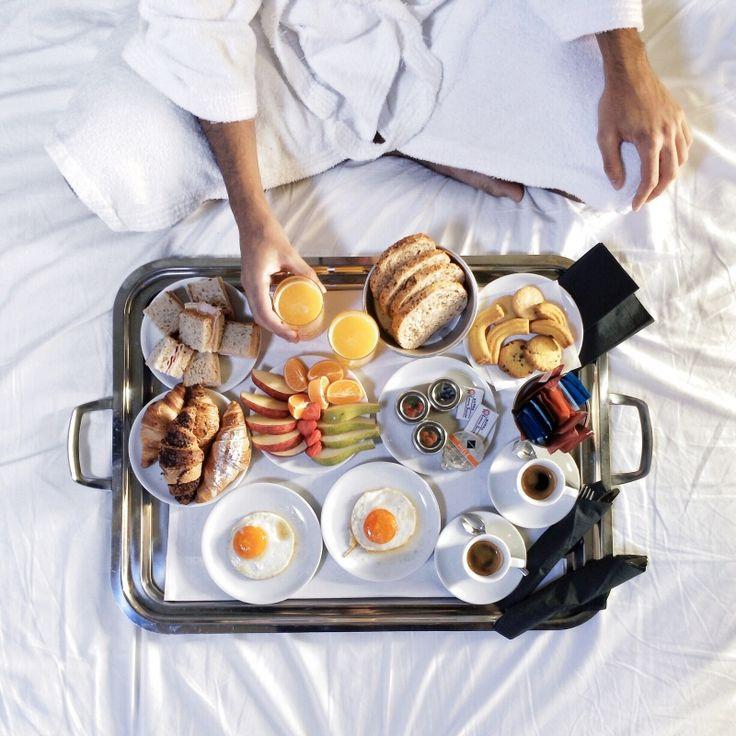 coffee, tea, OJ, croissants, fruit, eggs