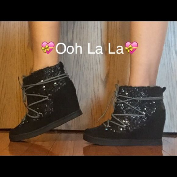 SALE Juicy Couture Black Glitter Booties Ooh La LaBlack glitter ankle booties with 4 inch hidden wedge heel by Juicy Couture. Micro suede upper - faux fur lining - lace up closure - padded footbed. NEW Size 6, 7, 8.5 & 9 Juicy Couture Shoes Ankle Boots & Booties