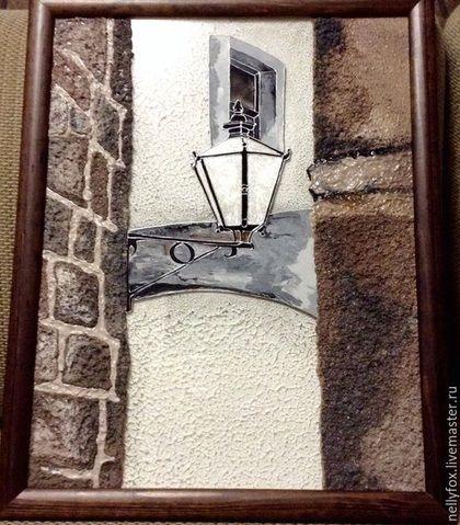 Купить или заказать Картины на стекле серия 'Хорватия-Дубровник' Фонарь-2 в интернет-магазине на Ярмарке Мастеров. IСерия картин на стекле 'Хорватия-Дубровник', четвертая картина из серии работ с городской тематикой. Авторская работа. Уличное освещение, Фонарь на городской стене.