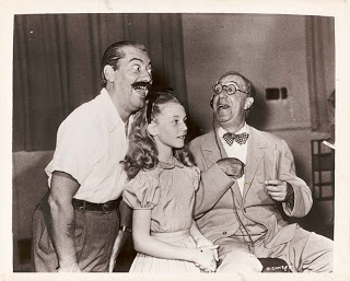 Jerry Colonna (March Hare), Kathryn Beaumont (Alice), & Ed Wynn (Mad Hatter)