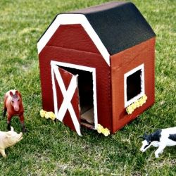 Learn how to make a kid-friendly miniature cardboard box barn for animal toys.