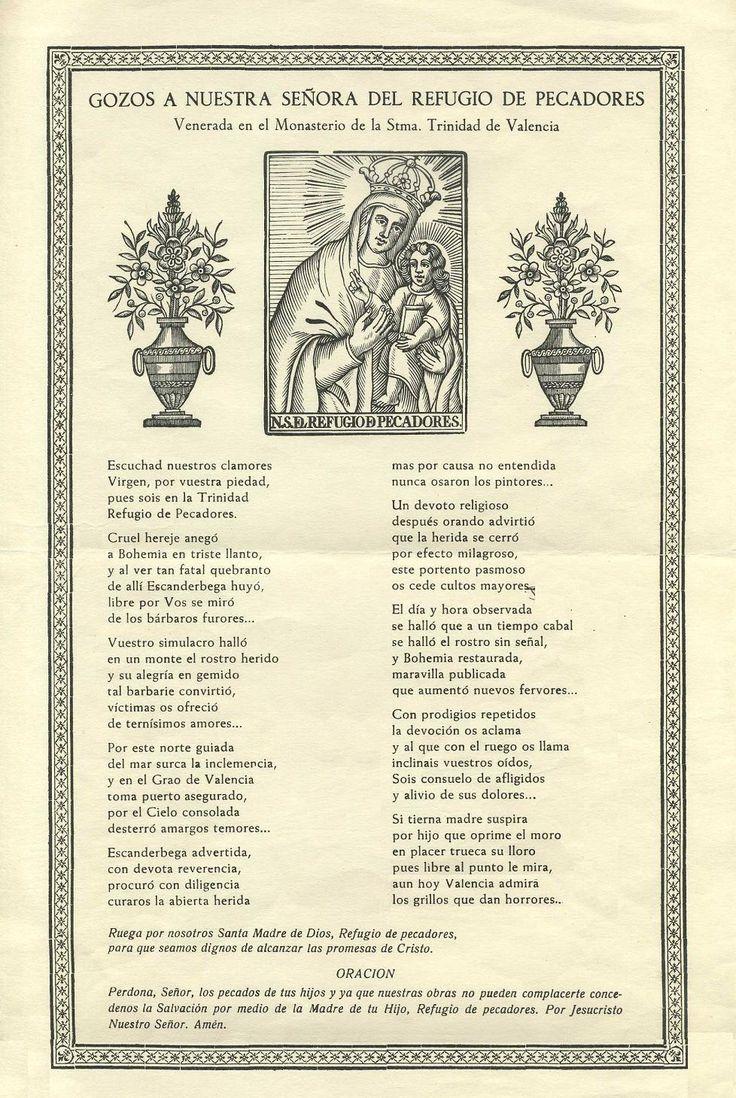 Gojos de Valencia (Gogistes Valencians): GOZOS A NUESTRA SEÑORA DEL REFUGIO DE PECADORES, venerada en el Monasterio de la Stma.Trinidad de Valencia.