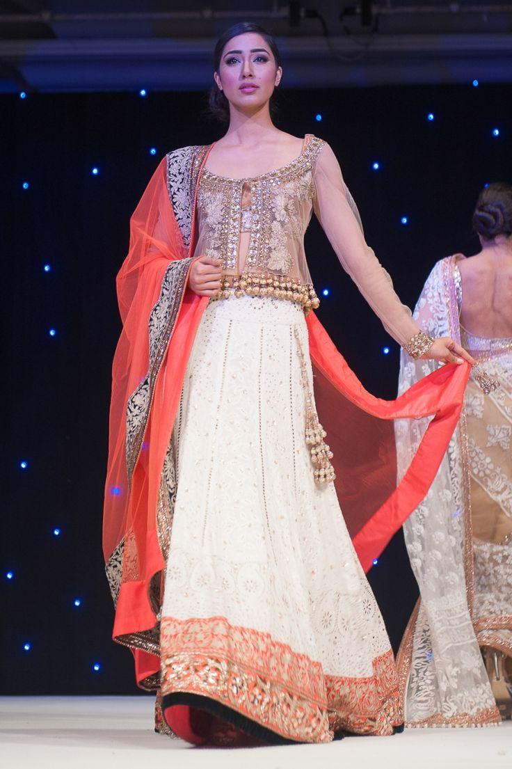 Orange & White Lengha   www.shaadibelles.com Shaadi Belles : Search, Save, & Share your South Asian Inspiration #bridallengha #lengha #wedding #indian
