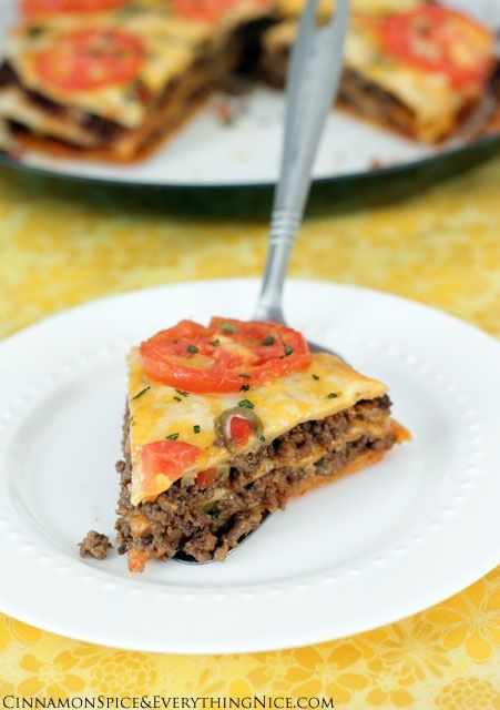 Tortilla Taco Lasagna ***Note*** Use low-carb tortillas for delicious low-carb meal + ground turkey meat instead..