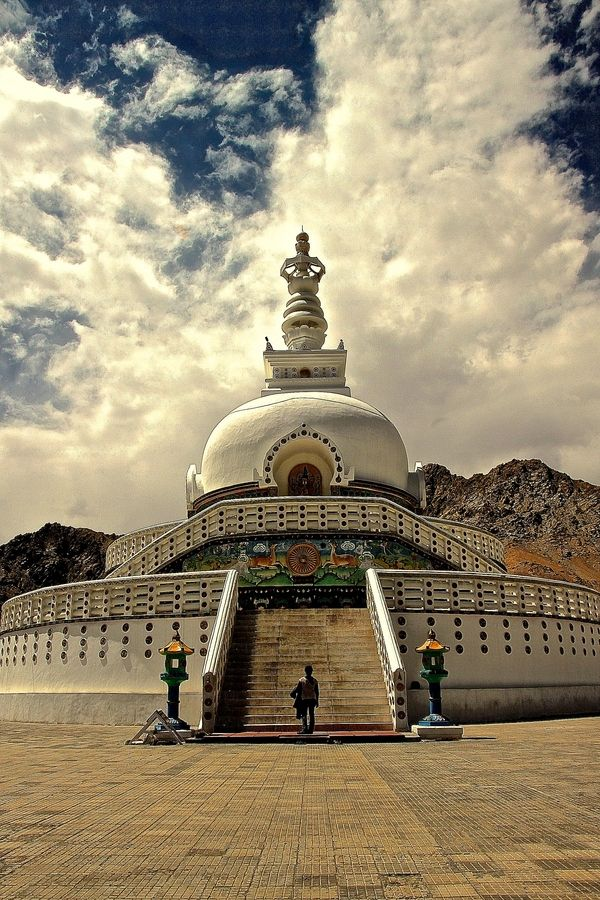 Shanti Stupa, Leh, Ladakh, India was built in 1991 by Japanese Buddhist Bhikshu Gyomyo Nakamura . The Shanti Stupa holds the relics of the Buddha at its base, enshrined by the 14th Dalai Lama himself.  by Vamsi Krishna