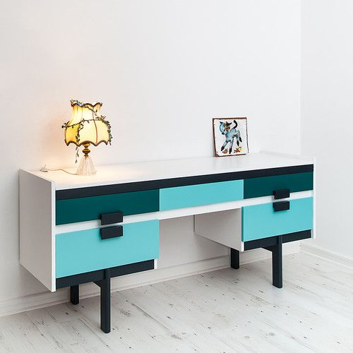 RETRO SIDEBOARD WOOD VINTAGE 1950s MID CENTURY HAND PAINTED LIKE G PLAN DANISH | eBay