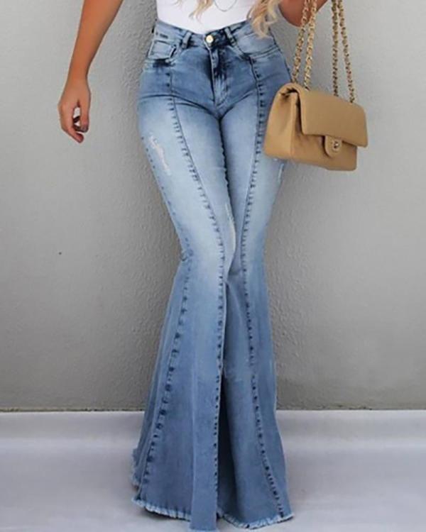 High Waist Pocket Bell Bottom Jeans Womens Fashion Jeans