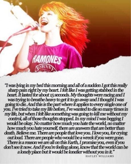 Hayley Williams. She has some of the greatest things to say.