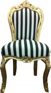 Elegant Barock Esszimmer Stuhl Schwarz / Weiß Streifen / Gold Stühle Barock Stühle  Esszimmerstühle Ohne Armlehne