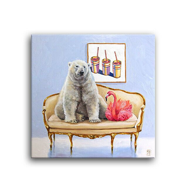 Daily Oil Painting Polar Bear Flamingo Thiebaud Ice Cream
