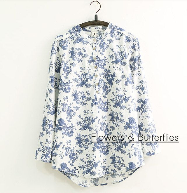 WORLDWIDE FREE SHIPPING Women in 3 sizes Cotton Porcelaine Blouse Shirt Long sleeved pure color natural boho shirt woman lagenlook casual by FlowersButterflies15 on Etsy