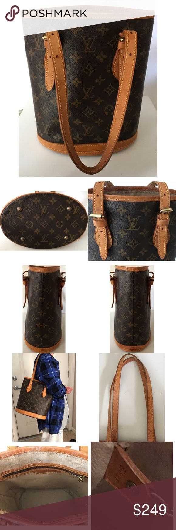 """💯Authentic Louis Vuitton Monogram Bucket PM Bag Authentic Louis Vuitton Bucket PM shoulder bag. Size L 8.7"""" x H 10"""" x D 6.0"""", adjustable strap 5.8-9.2"""". Date code AR1918. Monogram leather has normal signs of use, minor scuffs and dirt marks. Vachetta leather trim and handles have creases, dark spots, and dirt marks. Interior has dirt/pen marks and peeling mostly at the top of main compartment (see pics closely). Has 1 clip chain attached, 1 pocket, 1 zipper pocket, made in France. Retail…"""