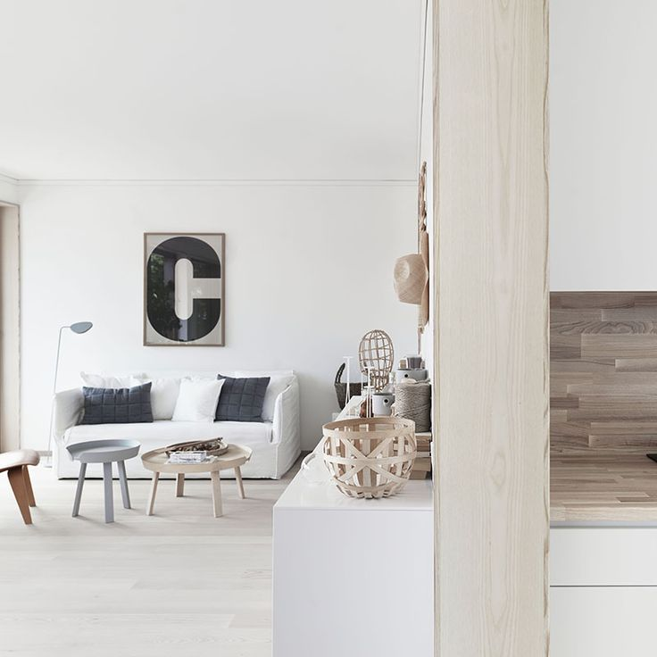 living room decorated with monochrome + wooden