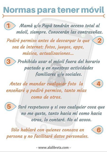 Adolescentes en casa: Contrato para tener un móvil. Normas y limites www.alalibreta.com