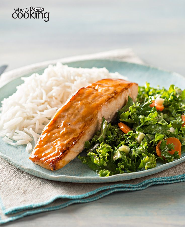 Sesame Salmon with Coconut Rice and Kale #recipe