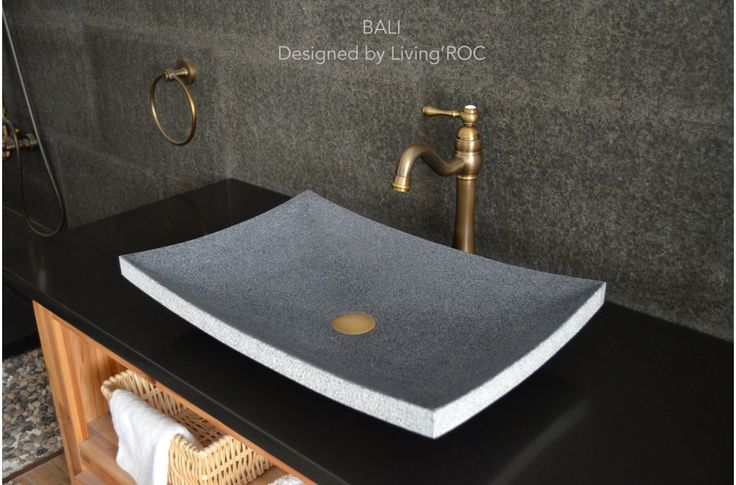 "24""x16"" Granite Stone Bathroom Vessel Sink Design - BALI"