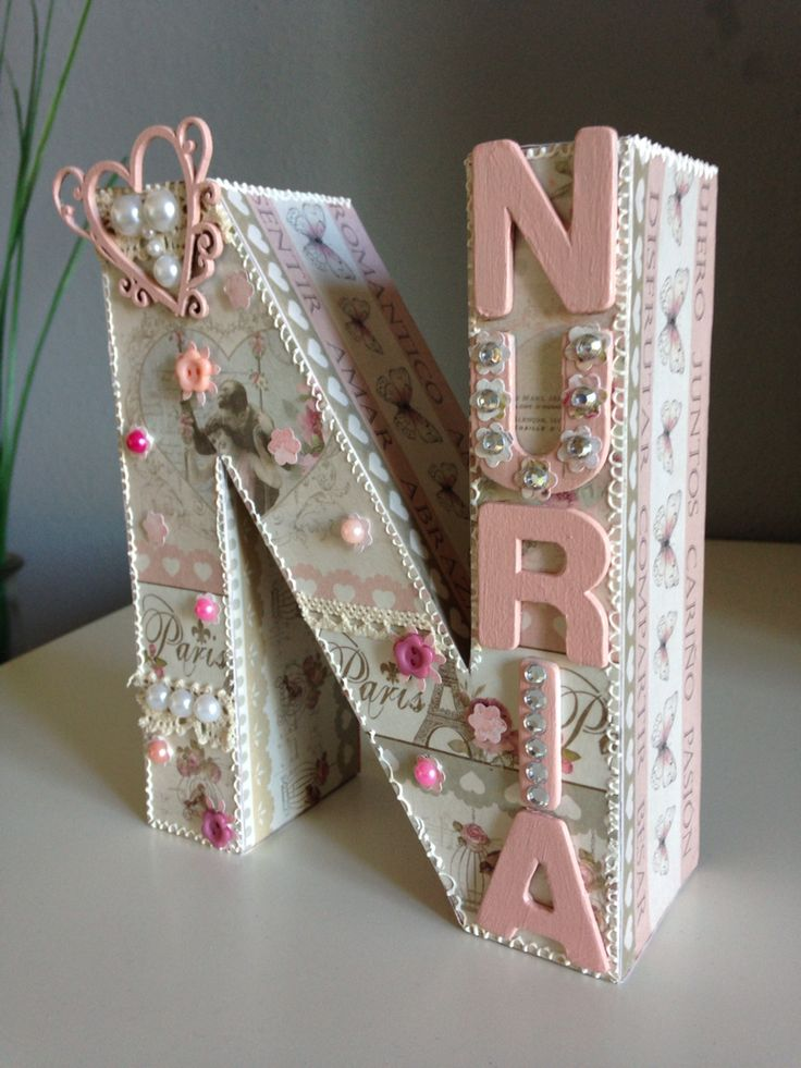 Letra N decorada Scrap
