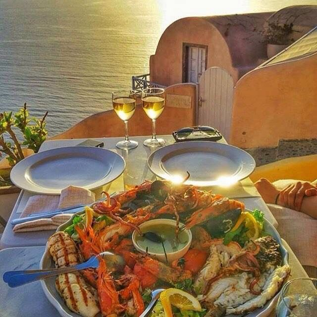 Mmm delicious.....seafood platter for two, wine and a beautiful view..#BeautifulGreece