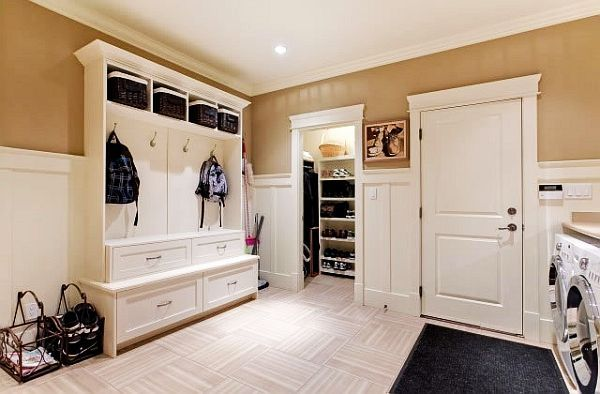 Laundry room, but also a great mud room idea for coming in from playing outside in the snow. I really like the half-wall paneling technique. For more basement finishing tips www.ifinishedmybasement.com