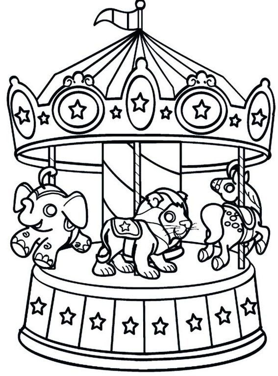 13 Meticulously Rendered Carousel Coloring Pages For Boys And