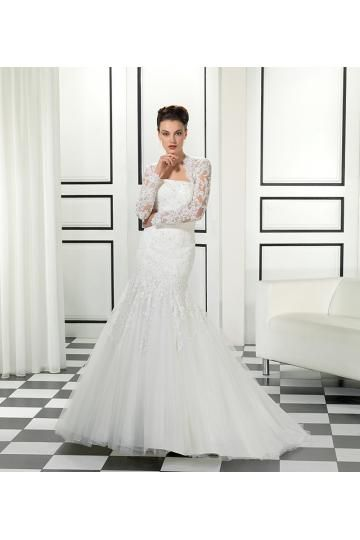 Robes de mariée 2015 femme en tulle applique dentelle cristal pailletés pas cher