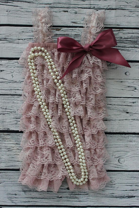 Cake Smash Pearls and Dusty Rose Lace Romper Ruffle Outfit