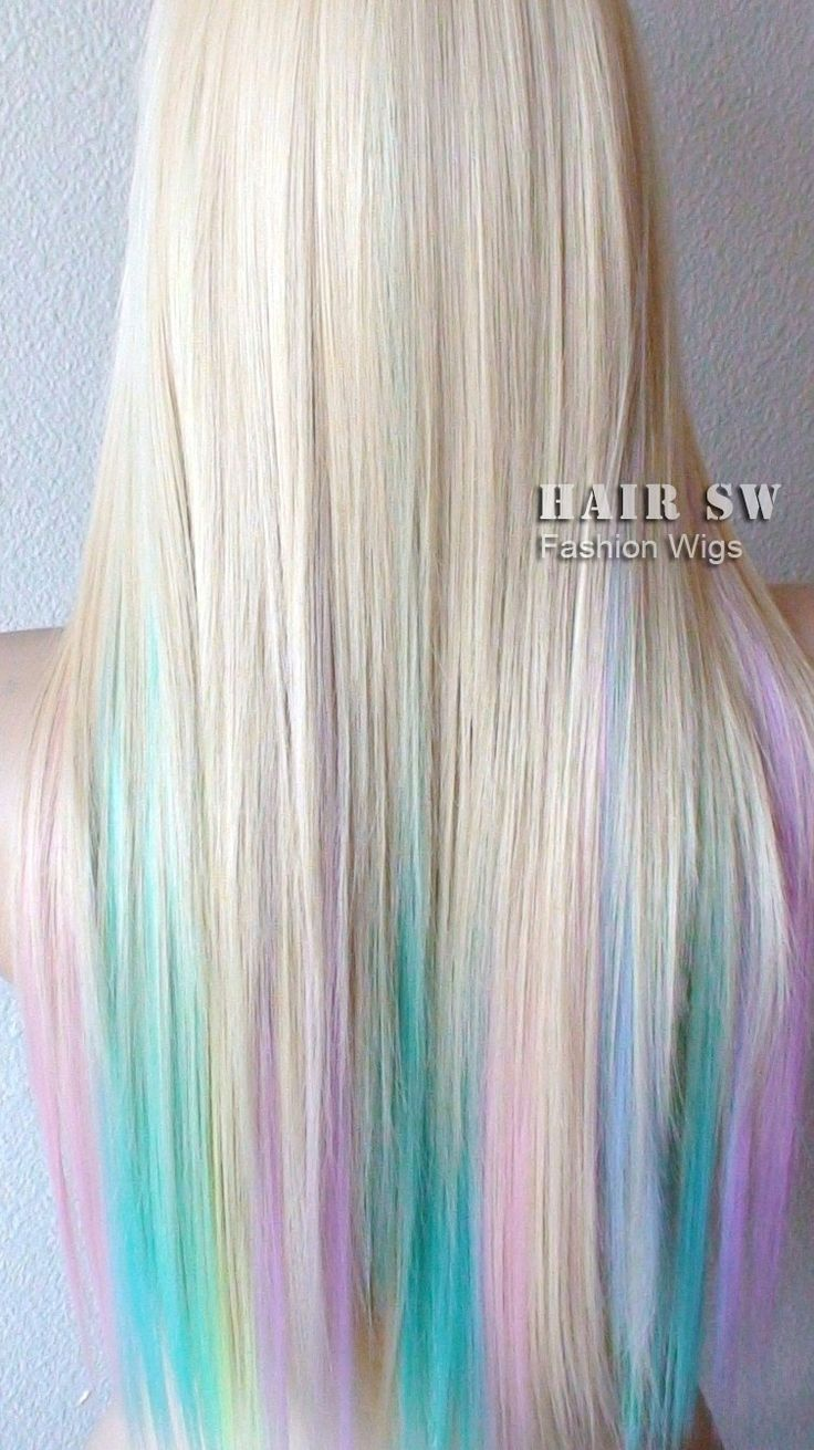 Blonde Pastel Color Highlights Rainbow Wig Fairy Princess