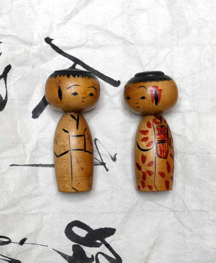 Vintage Japanese Pair of  Bobblehead Wooden  Kokeshi Dolls by JessaBellas on Etsy
