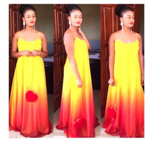 Red orange and yellow dress