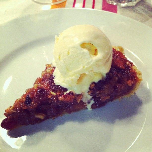 Mince pie treacle tart with clementine sorbet/ice cream @Flourtownbakery Brighton food Society dinner