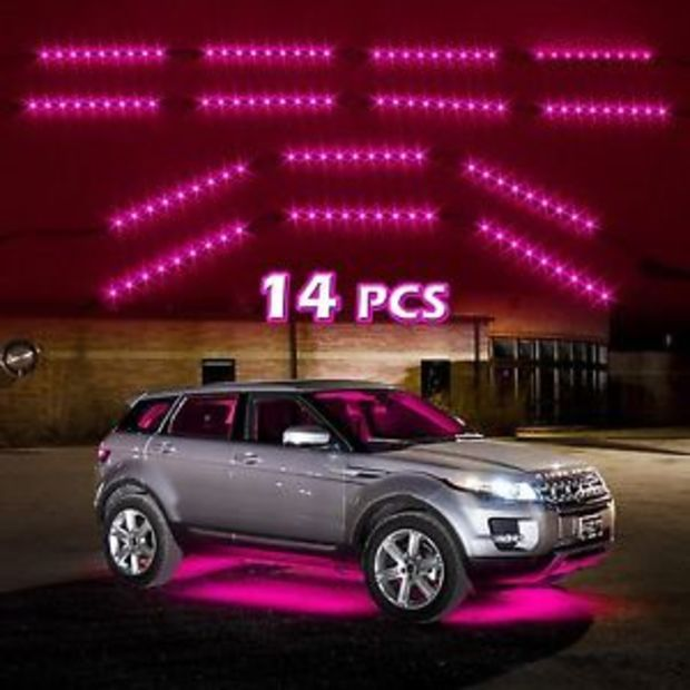 14pc Pink Car Truck Underglow Under Body Neon Accent Glow LED Lights Kit 3Mode