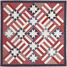 """American Dream - Stellar Quilts, 2006. Designed and pieced by Judy Martin. Quilted by Margy Sieck. 60"""" x 60"""". Alternate sizes of 64"""" x 87"""" and 106"""" x 106"""" also presented."""