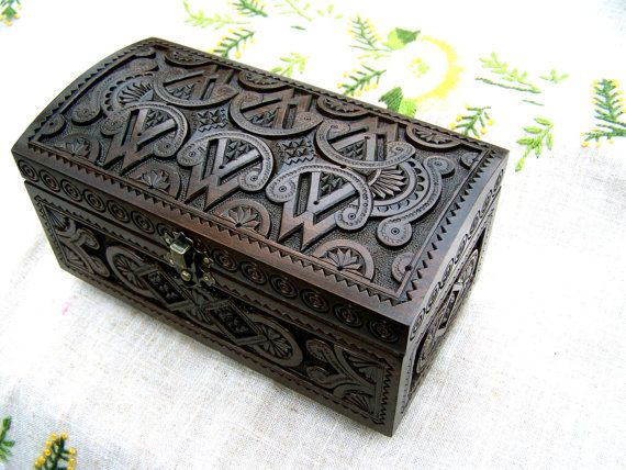 Personalized Jewelry box Wooden box Ring box Carved by HappyFlying