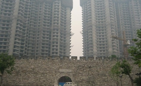 Changzhou - comb lane & Ming city wall with construction (old & new China)