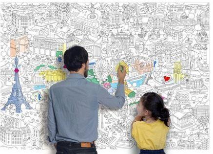Coloriages OMY: posters géants de Paris, de NY ou du monde à colorier en groupe - Véro à l'école