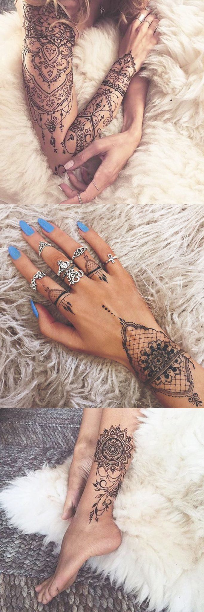 Sacred Geometric Mandala Tattoo Ideas for Women - Lace Black Henna Lotus Tatt - Full Arm Sleeve Tat - Chandelier Tatouage - MyBodiArt.com