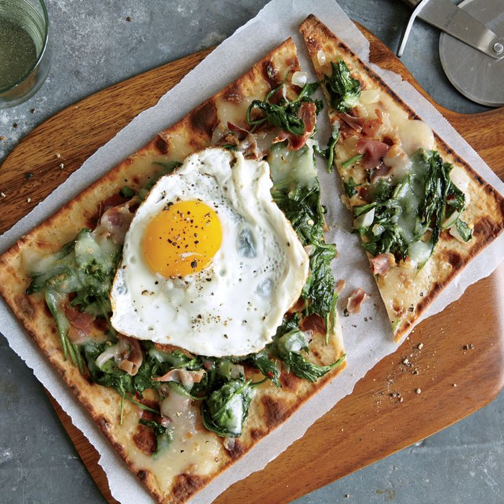 Spinach, Egg, and Prosciutto Flatbreads - Quick and Easy Pork Recipes - Cooking Light