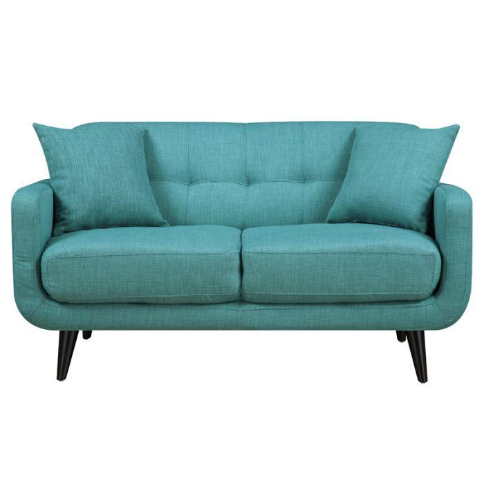 Mid Century Modern Hadley Loveseat Aqua Love Seat Mid Century