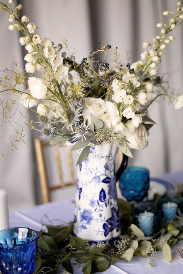 Blue and white floral centerpiece | Katie Jane Photography | see more on: http://burnettsboards.com/2014/11/brunch-wedding-mimosa-bar-crepe-cake/