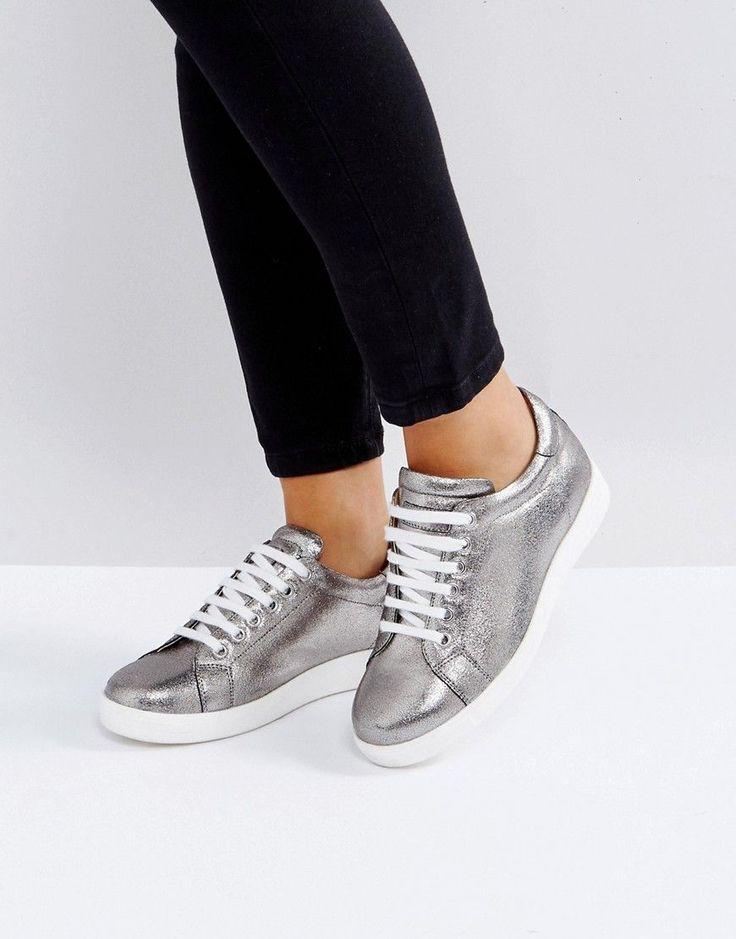 Carvela Leather Sneaker - Silver