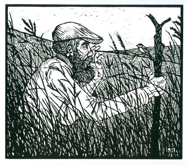 Walking Man in the Prairie Grass (jack baumgartner linocut)
