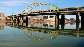 Stock Footage | The Fort Duquesne Bridge spanning the Allegheny River in Pittsburgh, Pennsylvania. | Download using the VidLib app. 50.000 Royalty Free Clips'