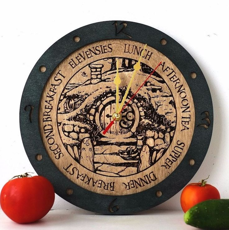 Hobbit Meal Times (Lord Of The Rings) Wooden Wall Clock In