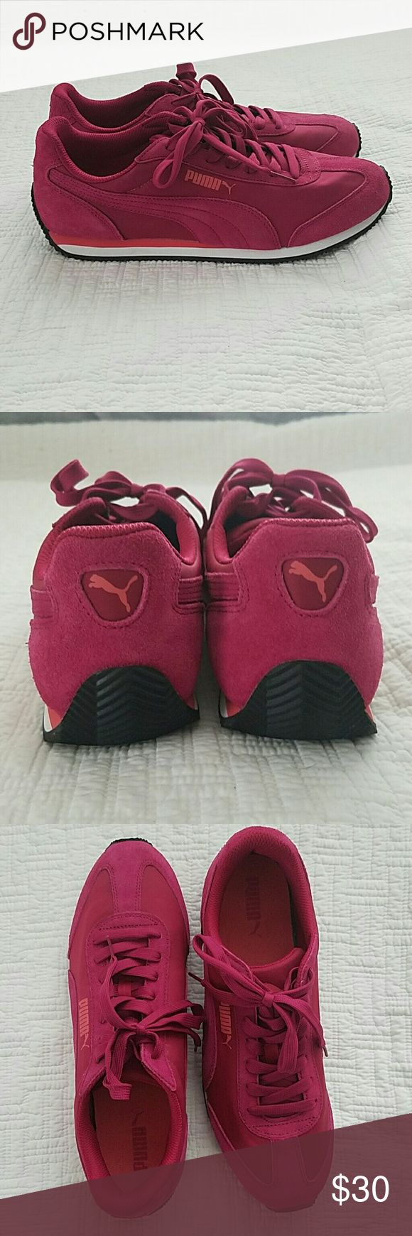 Puma Suede Athletic Shoes - Cerise/White NWOT. Have original box.  Beautiful & Fun deep pink color.  Worn for an hour around house. Very comfortable! They simply aren't for me. Super cute for any time of year, especially upcoming Spring and Summer. Puma Shoes Sneakers