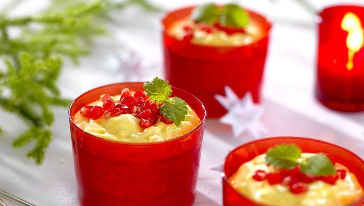 Glutenfri juldessert med ris a la Malta och saffran