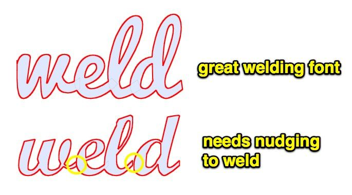 """New owners of digital diecutters often ask what are the best fonts for welding (or """"connecting"""" if they havent been indoctrinated"""